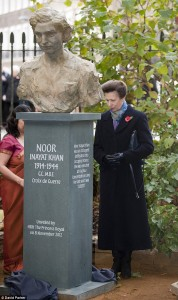 Princes Anne unveils a statue of Noor Inayat Khan in London (Mail Online)