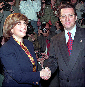 Turkish Prime Minister Tansu Ciller (left) and the prime minister-designate, Mesut Yilmaz, 1996. Burhan Ozbilici—AP/Wide World